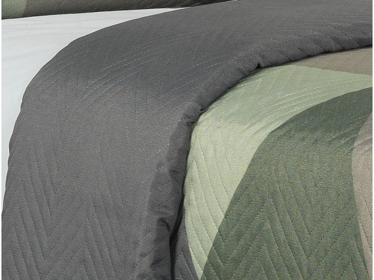Kit: 1 Cobre-leito Solteiro Bouti de Microfibra Ultrasonic Estampada + 1 Porta-travesseiro - Titan Cinza - Dui Design