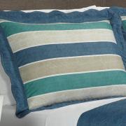 Kit: 1 Cobre-leito Casal Bouti de Microfibra Ultrasonic Estampada + 2 Porta-travesseiros - Tivoli Azul - Dui Design