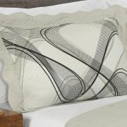 Kit: 1 Cobre-leito Queen Bouti de Microfibra Ultrasonic Estampada + 2 Porta-travesseiros - Tiziano Cinza - Dui Design