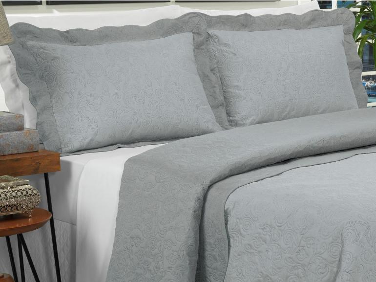 Kit: 1 Cobre-leito Queen Bouti de Microfibra Ultrasonic + 2 Porta-travesseiros - Tiziano Prata - Dui Design