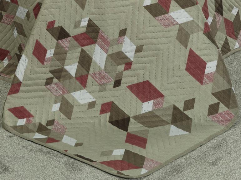 Kit: 1 Cobre-leito King Bouti de Microfibra Ultrasonic Estampada + 2 Porta-travesseiros - Todor Bege - Dui Design