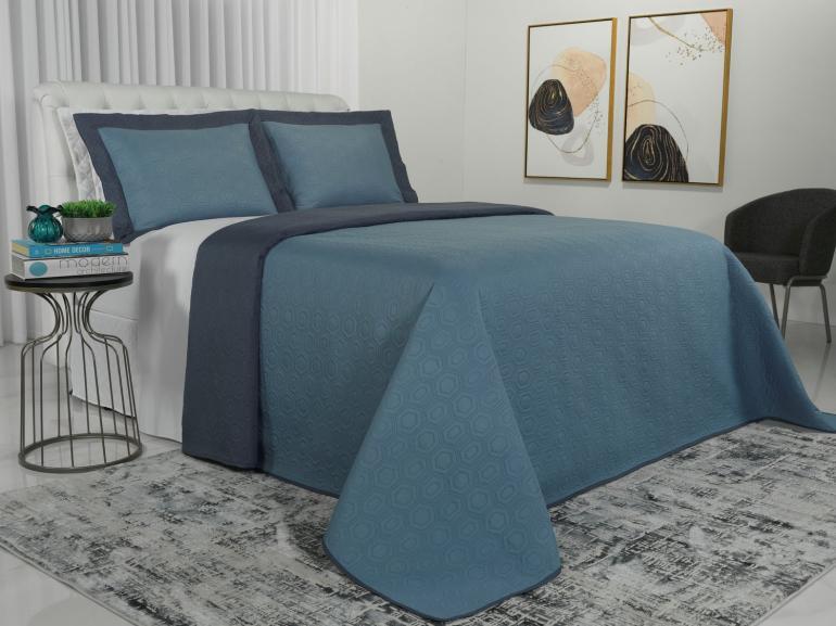 Kit: 1 Cobre-leito Solteiro Bouti de Microfibra Ultrasonic + 1 Porta-travesseiro - Toledo Azul - Dui Design