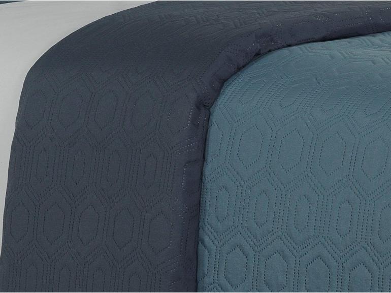 Kit: 1 Cobre-leito Casal Bouti de Microfibra Ultrasonic + 2 Porta-travesseiros - Toledo Azul - Dui Design