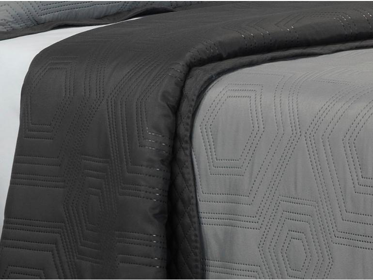 Kit: 1 Cobre-leito King Bouti de Microfibra Ultrasonic + 2 Porta-travesseiros - Toledo Cinza - Dui Design