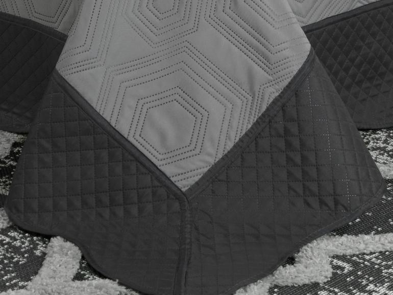 Kit: 1 Cobre-leito Casal Bouti de Microfibra Ultrasonic + 2 Porta-travesseiros - Toledo Cinza - Dui Design