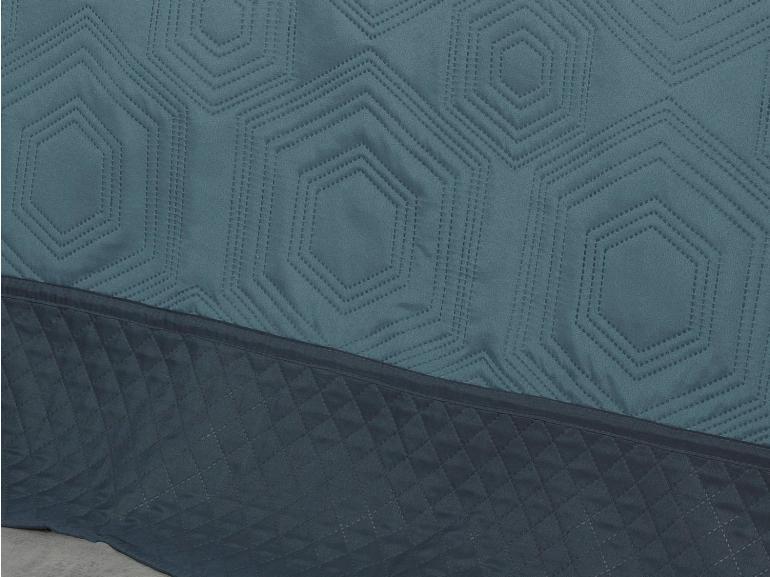 Kit: 1 Cobre-leito Casal Bouti de Microfibra Ultrasonic + 2 Porta-travesseiros - Toledo Jeans Indigo - Dui Design