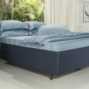 Saia para cama Box Matelassada Fácil de Vestir Casal - Tóquio Matelada Indigo - Dui Design