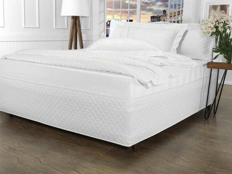 Saia para cama Box Matelassada Fácil de Vestir Solteiro - Tóquio Matelada Branco - Dui Design
