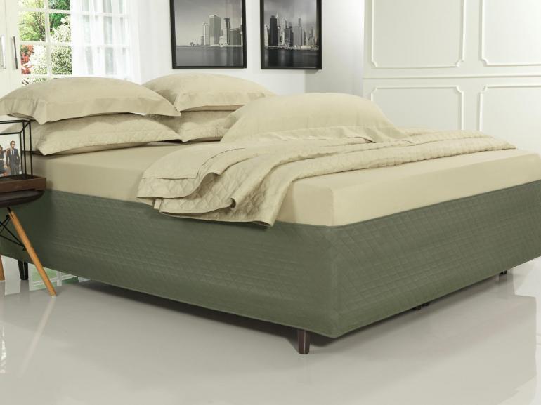 Saia para cama Box Matelassada Fácil de Vestir Casal - Tóquio Matelada Taupe Escuro - Dui Design