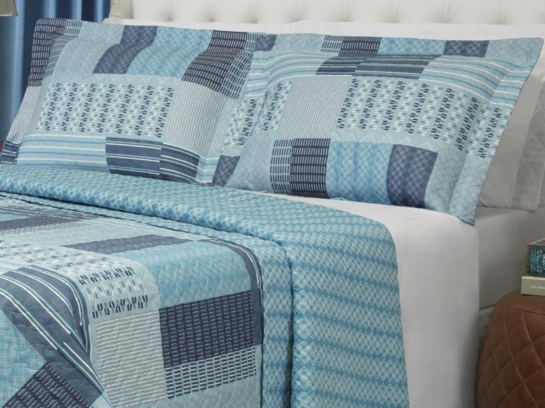 Kit: 1 Cobre-leito Solteiro Bouti de Microfibra Ultrasonic Estampada + 1 Porta-travesseiro - Torino Azul - Dui Design