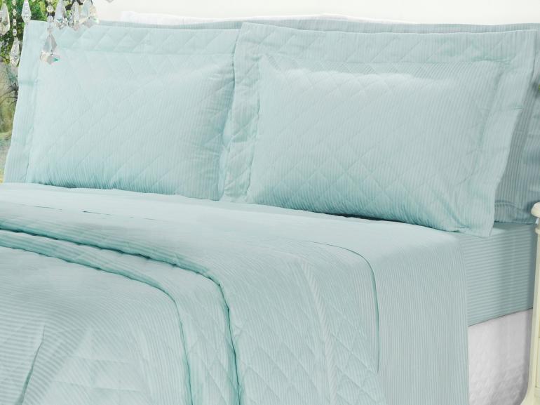 Kit: 1 Cobre-leito Casal + 2 porta-travesseiros Cetim 300 fios - Toronto Azul Claro - Dui Design