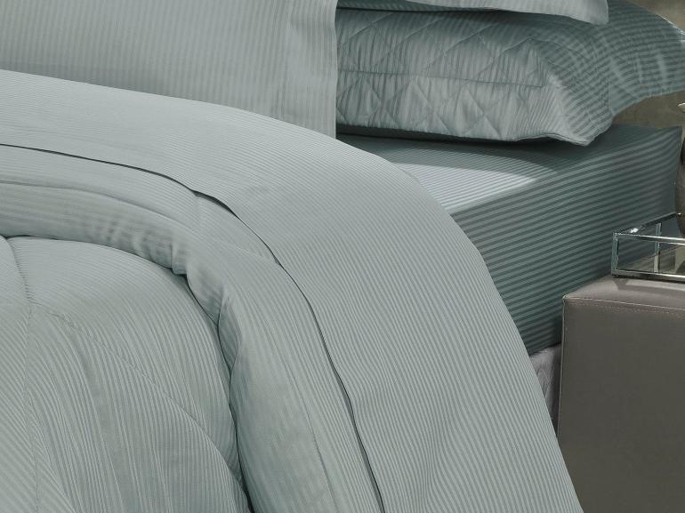 Jogo de Cama Solteiro Cetim 300 fios - Toronto Cinza Azulado - Dui Design