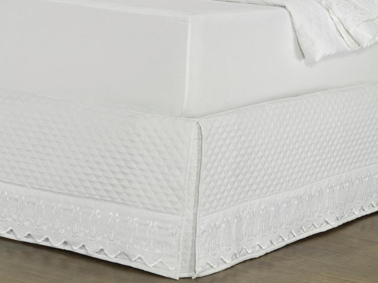 Saia para cama Box Matelassada com Bordado Inglês Solteiro - Toscana Branco - Dui Design