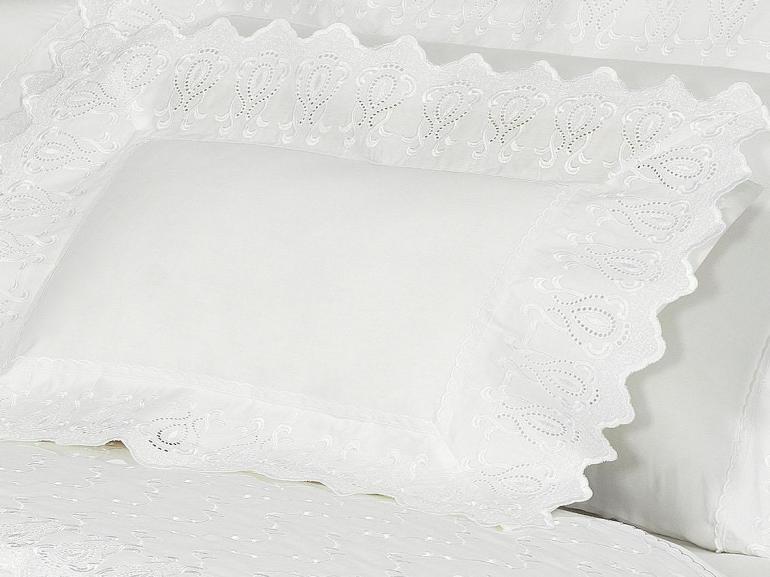 Jogo de Cama Solteiro Percal 200 fios com Bordado Inglês - Toscana Branco - Dui Design