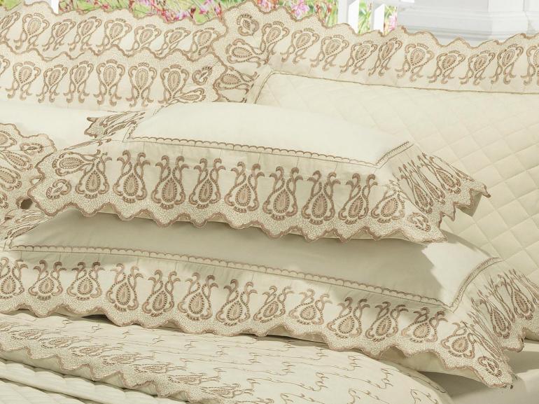 Jogo de Cama Casal Percal 200 fios com Bordado Inglês - Toscana Marfim - Dui Design
