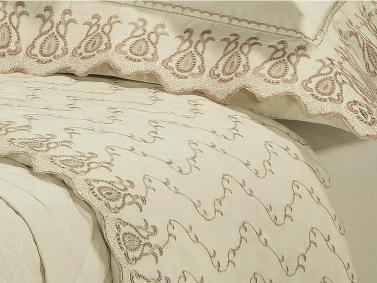 Jogo de Cama King Percal 200 fios com Bordado Inglês - Toscana Marfim - Dui Design