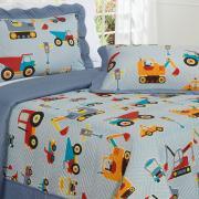 Kit: 1 Cobre-leito Solteiro Kids Bouti de Microfibra PatchWork Ultrasonic + 1 Porta-travesseiro - Tratores - Dui Design