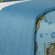 Kit: 1 Cobre-leito Solteiro Kids Bouti de Microfibra PatchWork Ultrasonic + 1 Porta-travesseiro - Tratores Azul - Dui Design