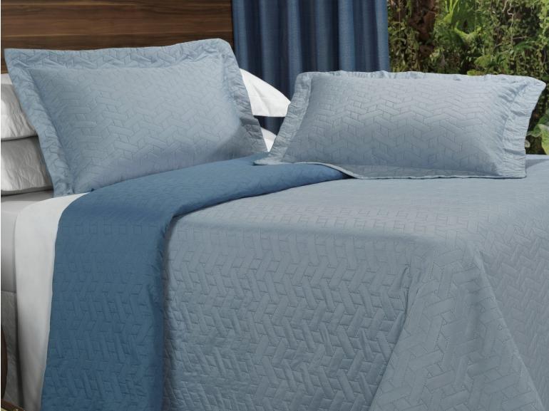 Kit: 1 Cobre-leito Casal Bouti de Microfibra Ultrasonic + 2 Porta-travesseiros - Treliça Azul - Dui Design