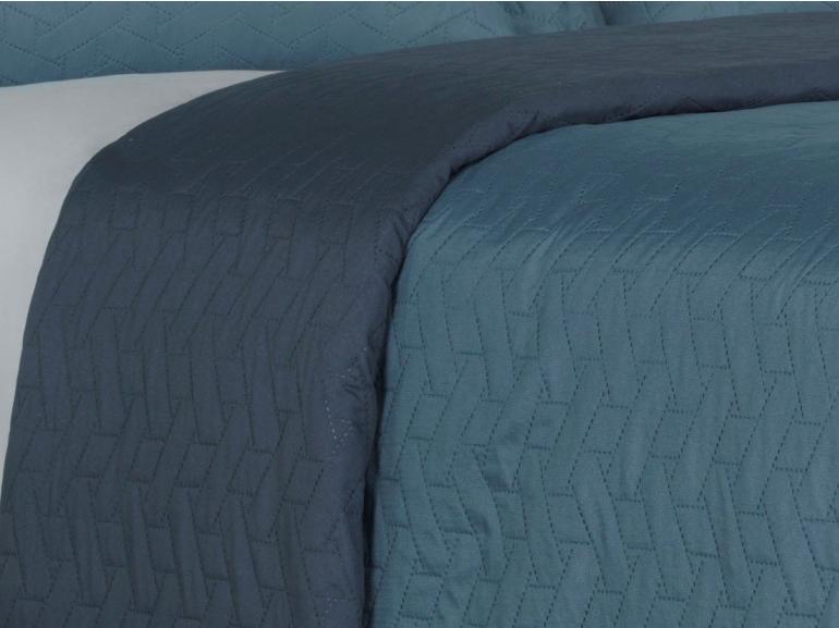 Kit: 1 Cobre-leito Solteiro Bouti de Microfibra Ultrasonic + 1 Porta-travesseiro - Trellis Indigo - Dui Design