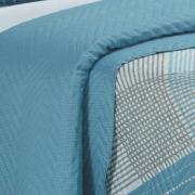 Kit: 1 Cobre-leito Solteiro Bouti de Microfibra Ultrasonic Estampada + 1 Porta-travesseiro - Trevis Azul - Dui Design