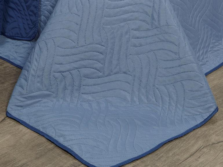 Kit: 1 Cobre-leito Casal Bouti de Microfibra Ultrasonic + 2 Porta-travesseiros - Triton Azul e Indigo - Dui Design
