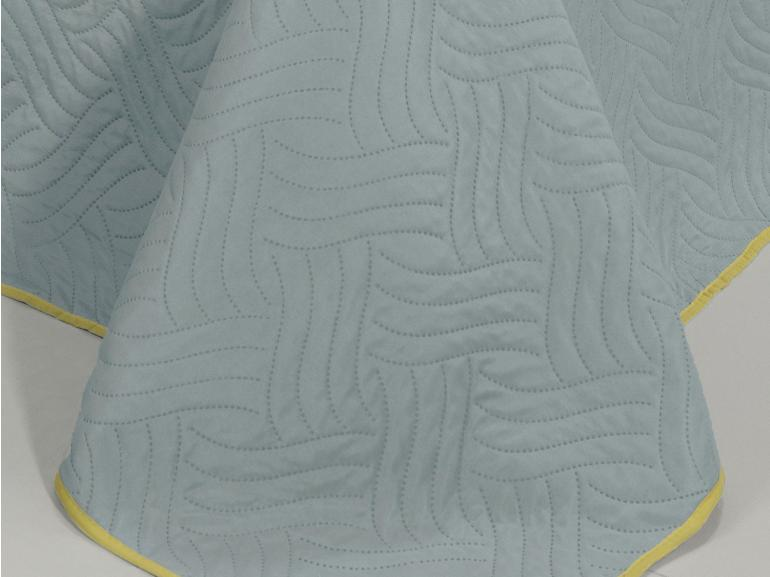 Kit: 1 Cobre-leito King Bouti de Microfibra Ultrasonic + 2 Porta-travesseiros - Triton Cinza Amarelo - Dui Design