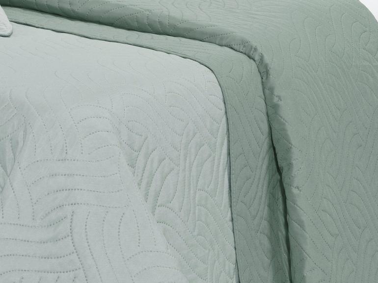 Kit: 1 Cobre-leito Solteiro Bouti de Microfibra Ultrasonic + 1 Porta-travesseiro - Triton Cinza Metal - Dui Design