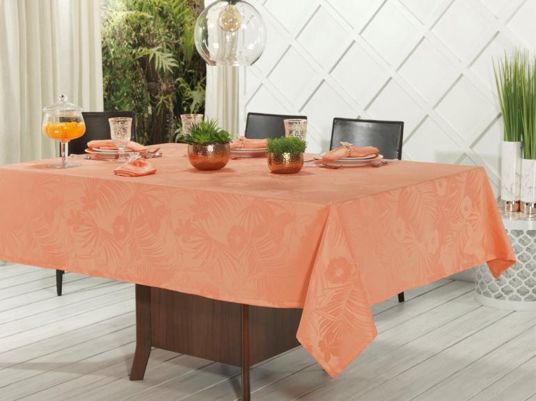 Toalha de Mesa Fácil de Limpar Retangular 8 Lugares 160x270cm - Tropicale Salmão - Dui Design