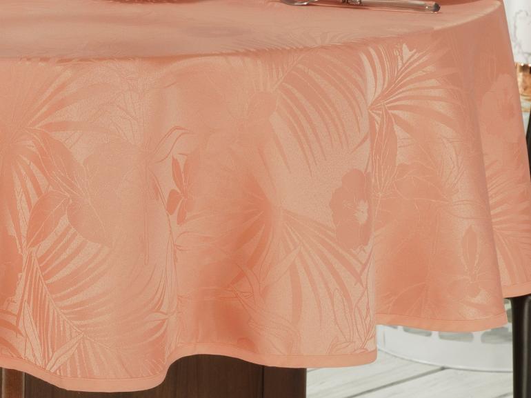 Toalha de Mesa Fácil de Limpar Redonda 220cm - Tropicale Salmão - Dui Design