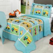 Kit: 1 Cobre-leito Solteiro Kids Bouti de Microfibra PatchWork Ultrasonic + 1 Porta-travesseiro - Truck Azul - Dui Design