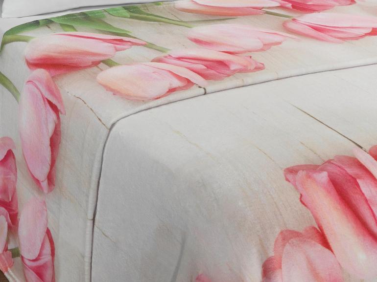 Cobertor Avulso Queen Flanelado com Estampa Digital - Tulipas - Dui Design