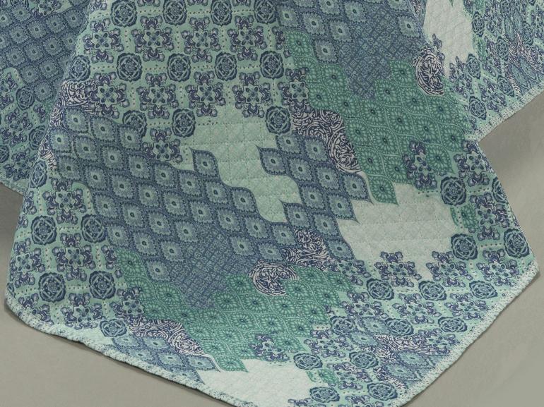Kit: 1 Cobre-leito Solteiro Bouti de Microfibra Ultrasonic Estampada + 1 Porta-travesseiro - Turquia Azul - Dui Design