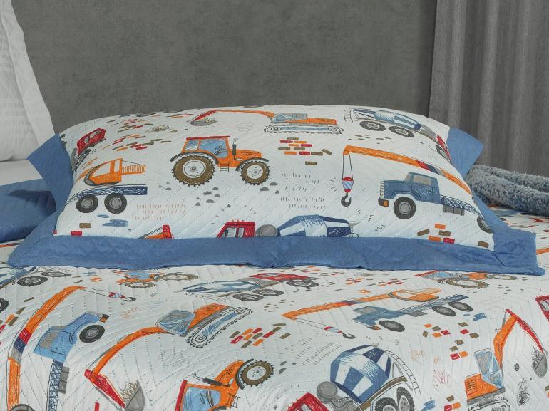 Kit: 1 Cobre-leito Solteiro Kids Bouti de Microfibra PatchWork Ultrasonic + 1 Porta-travesseiro - Tyler Azul - Dui Design