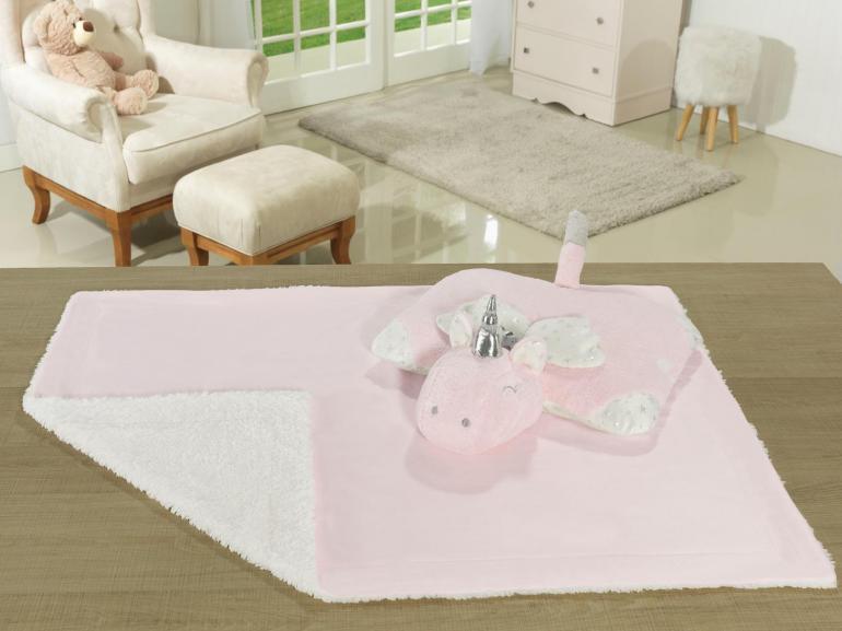 Kit: 1 Cobertor Baby Pele de Carneiro Sherpa + 1 Almofada Baby Kids de Bichinhos - Uni Rosa Sherpa - Dui Design