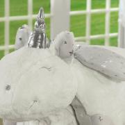 Kit: 1 Manta Jacquard Baby de Microfibra + 1 Almofada Baby Kids de Bichinhos - Unicórnio Cinza - Dui Design
