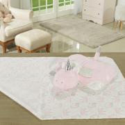 Kit: 1 Manta Jacquard Baby de Microfibra + 1 Almofada Baby Kids de Bichinhos - Unicórnio Rosa - Dui Design
