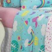 Kit: 1 Cobre-leito Solteiro Kids + 1 Porta-travesseiro 150 fios 100% Algodão - Unicórnios Acqua 150 fios - Teka