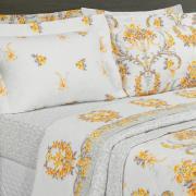 Kit: 1 Cobre-leito Solteiro + 1 Porta-travesseiro 150 fios - Valentine Amarelo - Dui Design