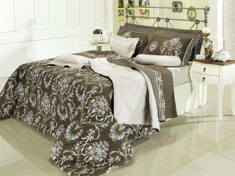 Kit: 1 Cobre-leito Solteiro + 1 Porta-travesseiro Percal 200 fios 100% Algodão - Valentine Marrom - Dui Design