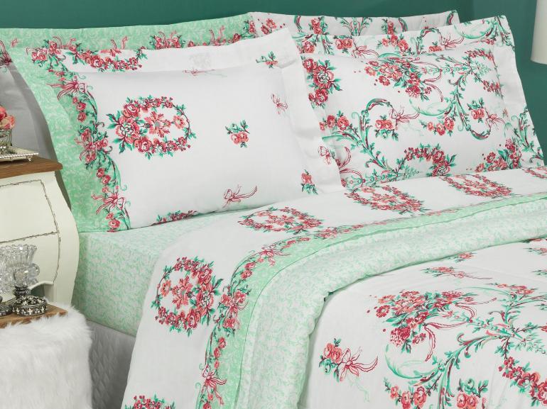 Jogo de Cama Casal 150 fios - Valentine Rosa - Dui Design