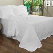 Kit: 1 Cobre-leito Queen Bouti de Microfibra Ultrasonic + 2 Porta-travesseiros - Venetia Branco - Dui Design