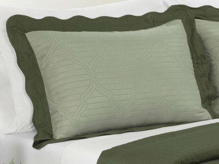 Kit: 1 Cobre-leito Queen Bouti de Microfibra Ultrasonic + 2 Porta-travesseiros - Venetia Oliva - Dui Design