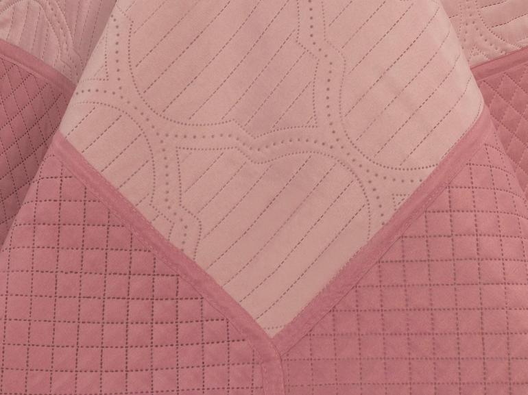 Kit: 1 Cobre-leito Casal Bouti de Microfibra Ultrasonic + 2 Porta-travesseiros - Venetia Rosa - Dui Design