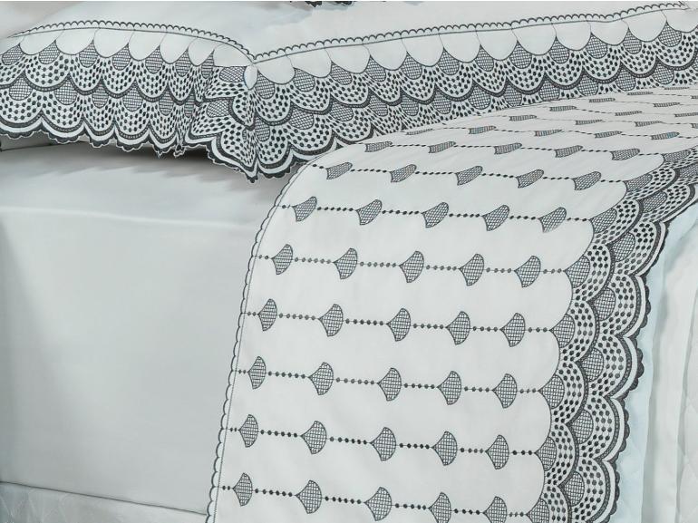 Jogo de Cama Queen Percal 200 fios com Bordado Inglês - Veneto Branco e Grafite - Dui Design