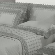 Jogo de Cama Casal Percal 200 fios com Bordado Inglês - Veneto Cinza e Grafite - Dui Design