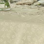 Toalha de Mesa com Bordado Guipir Fácil de Limpar Retangular 8 Lugares 160x270cm - Veneza Bege - Dui Design