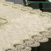 Centro de Mesa com Bordado Guipir Fácil de Limpar 85x85cm Avulso - Veneza Bege - Dui Design