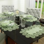 Jogo Americano 4 Lugares (4 peças) com Bordado Guipir Fácil de Limpar 35x50cm - Veneza Chá Verde - Dui Design