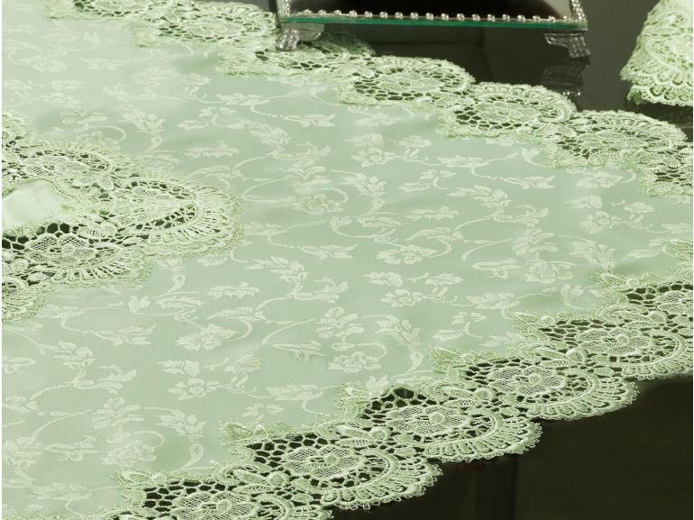 Centro de Mesa com Bordado Guipir Fácil de Limpar 85x85cm Avulso - Veneza Chá Verde - Dui Design
